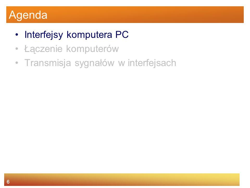 Agenda Interfejsy komputera PC Łączenie komputerów