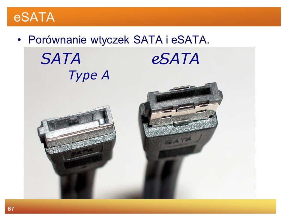 eSATA Porównanie wtyczek SATA i eSATA.