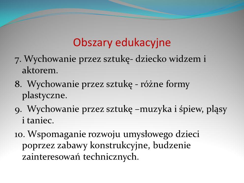 Obszary edukacyjne 7. Wychowanie przez sztukę- dziecko widzem i aktorem. 8. Wychowanie przez sztukę - różne formy plastyczne.