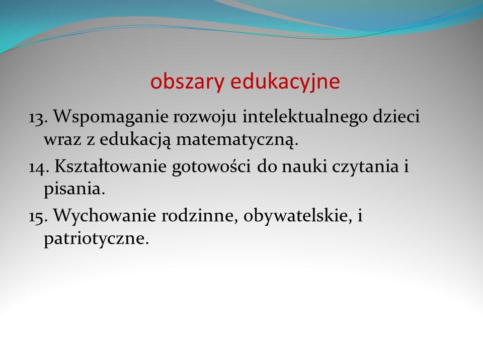 obszary edukacyjne 13. Wspomaganie rozwoju intelektualnego dzieci wraz z edukacją matematyczną.