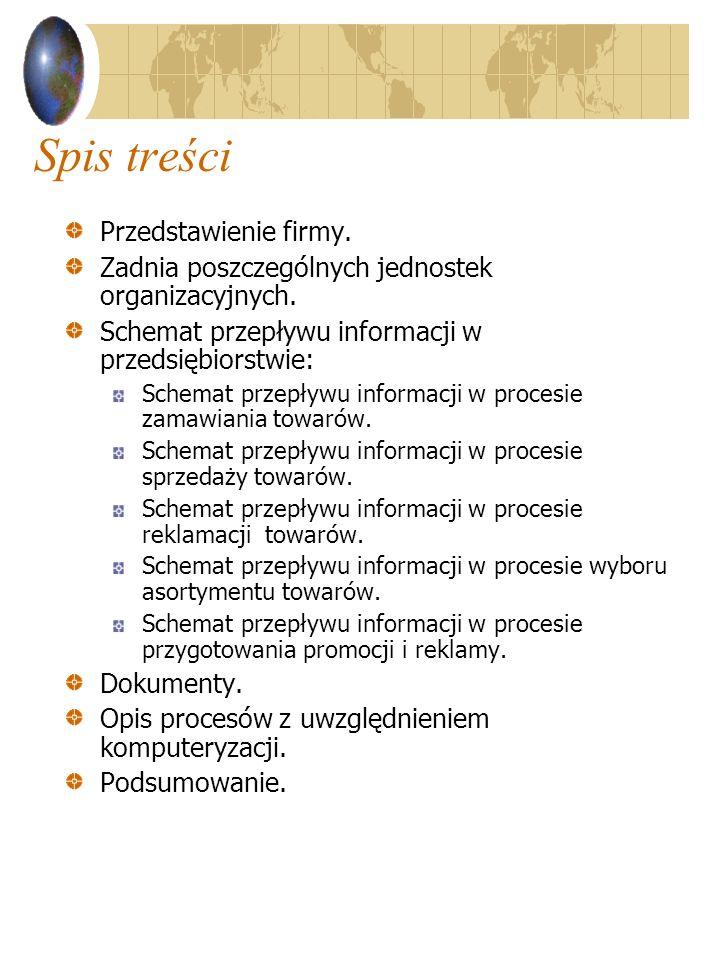 Spis treści Przedstawienie firmy.