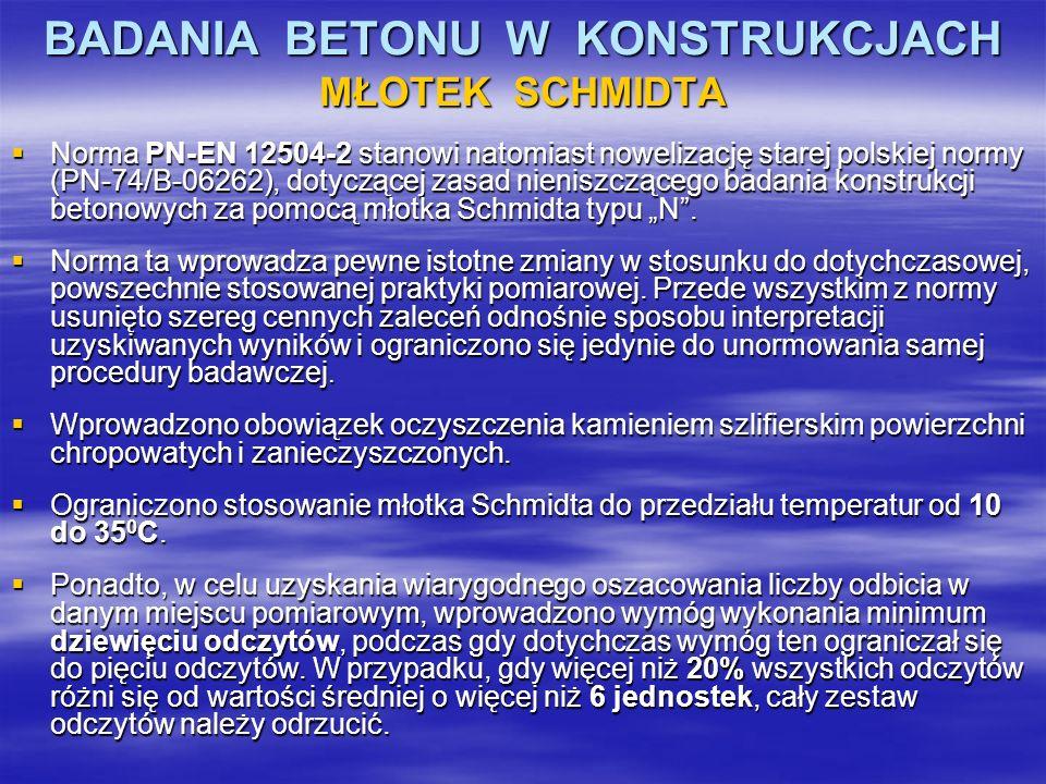 BADANIA BETONU W KONSTRUKCJACH MŁOTEK SCHMIDTA