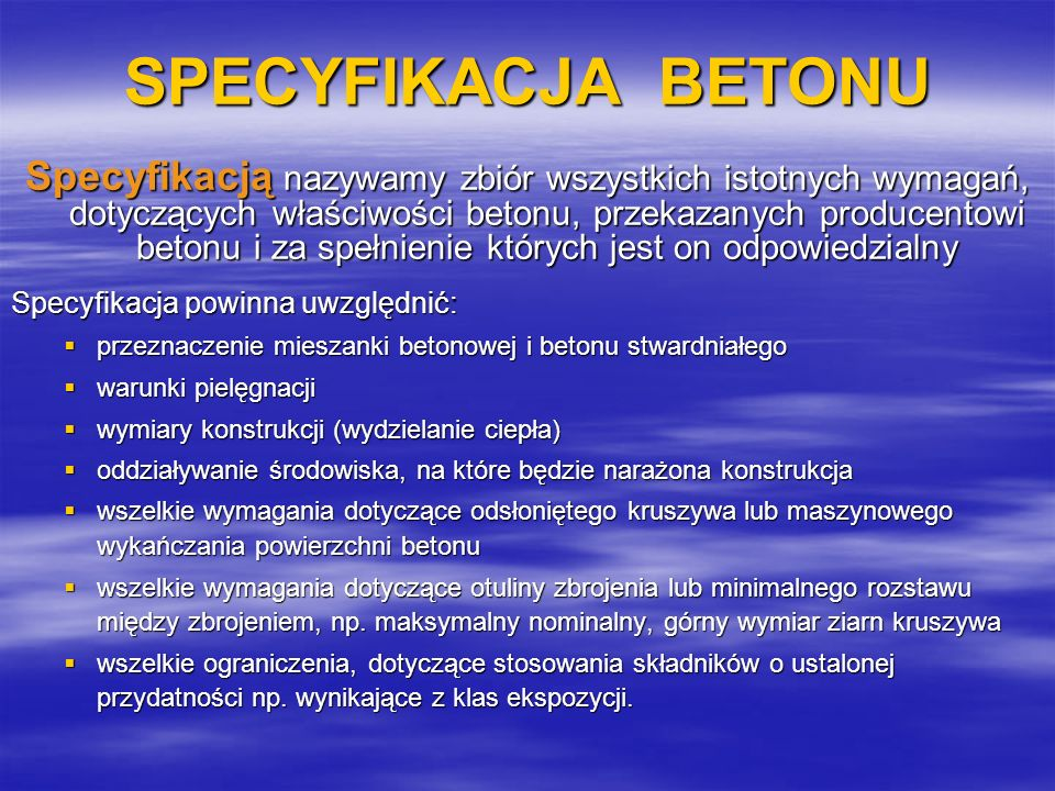 SPECYFIKACJA BETONU