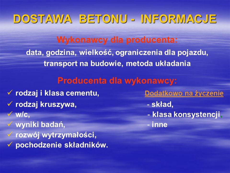 DOSTAWA BETONU - INFORMACJE