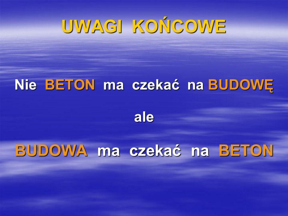Nie BETON ma czekać na BUDOWĘ BUDOWA ma czekać na BETON