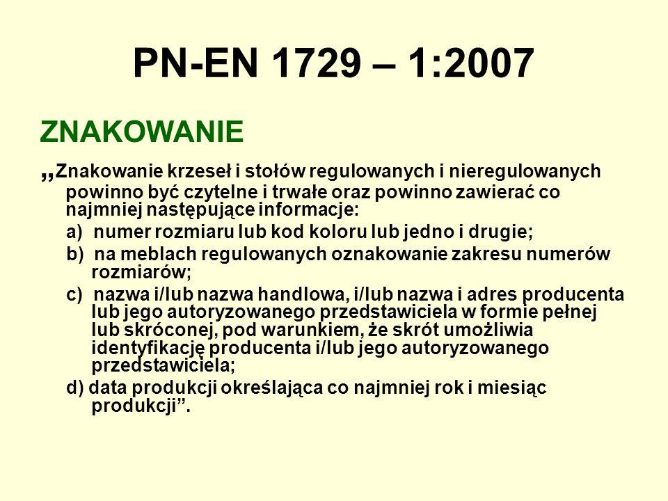 PN-EN 1729 – 1:2007 ZNAKOWANIE.