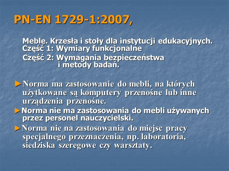 PN-EN 1729-1:2007, Meble. Krzesła i stoły dla instytucji edukacyjnych. Część 1: Wymiary funkcjonalne.