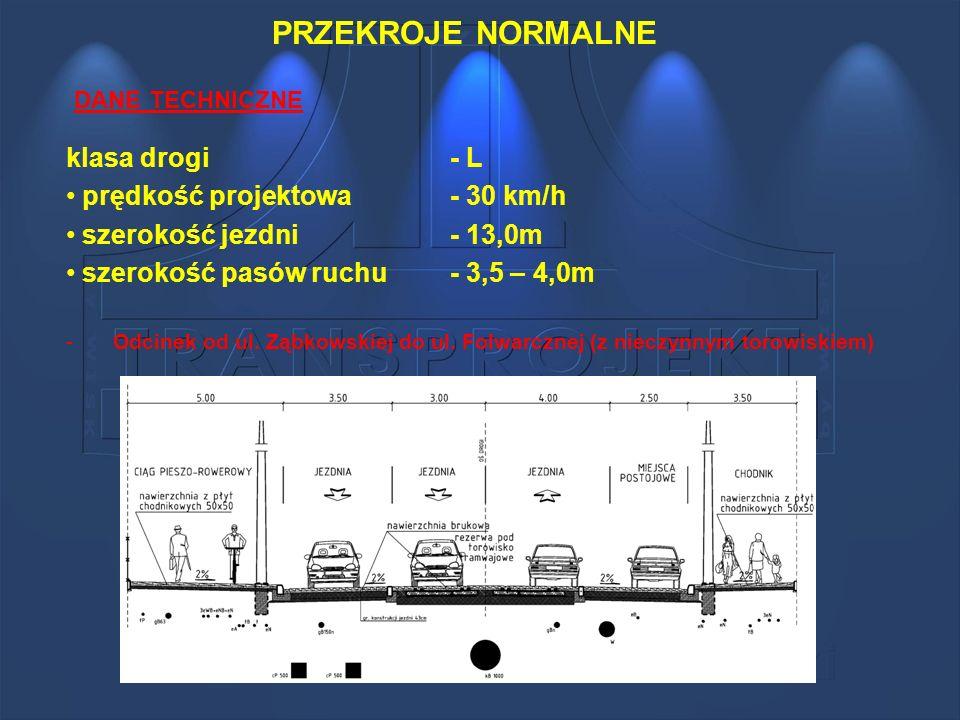 PRZEKROJE NORMALNE klasa drogi - L prędkość projektowa - 30 km/h