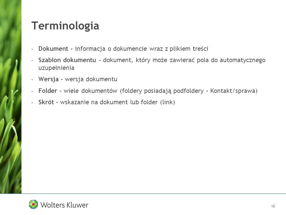 Terminologia Dokument – informacja o dokumencie wraz z plikiem treści