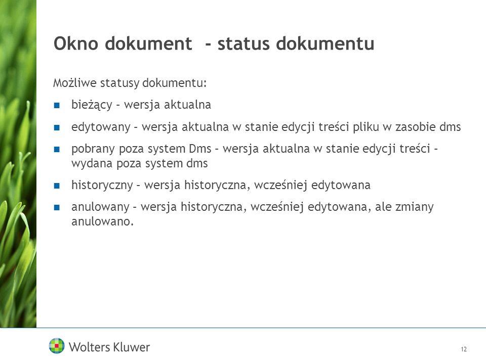Okno dokument - status dokumentu
