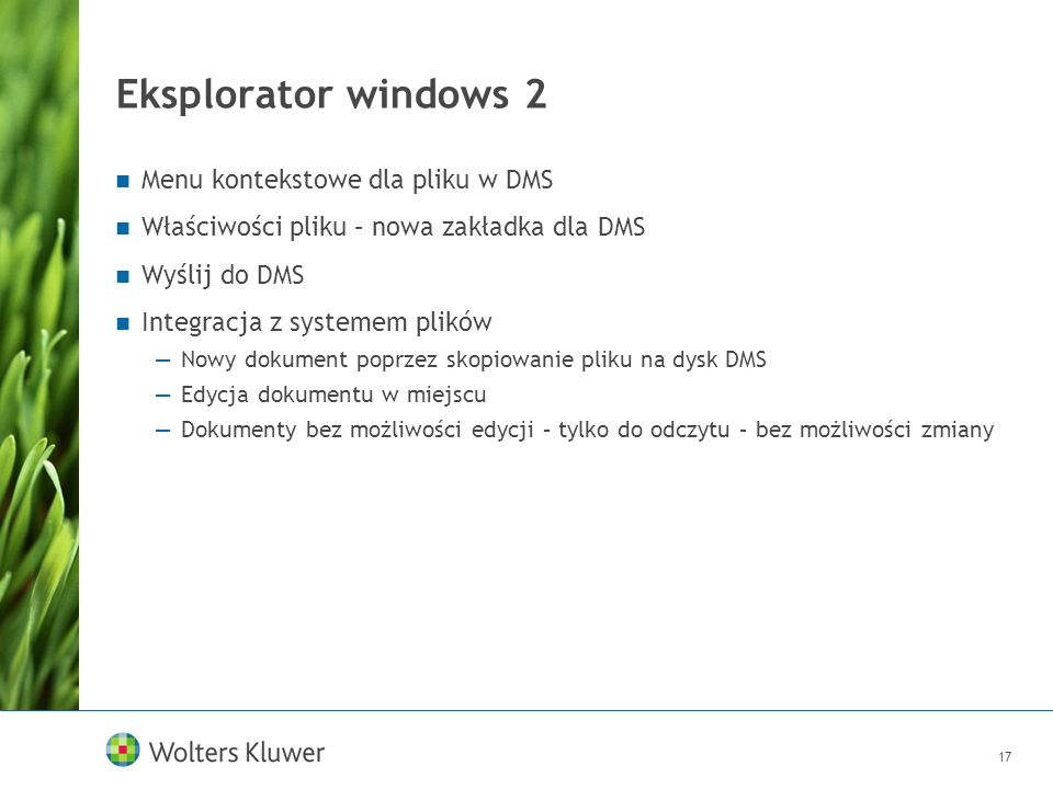 Eksplorator windows 2 Menu kontekstowe dla pliku w DMS