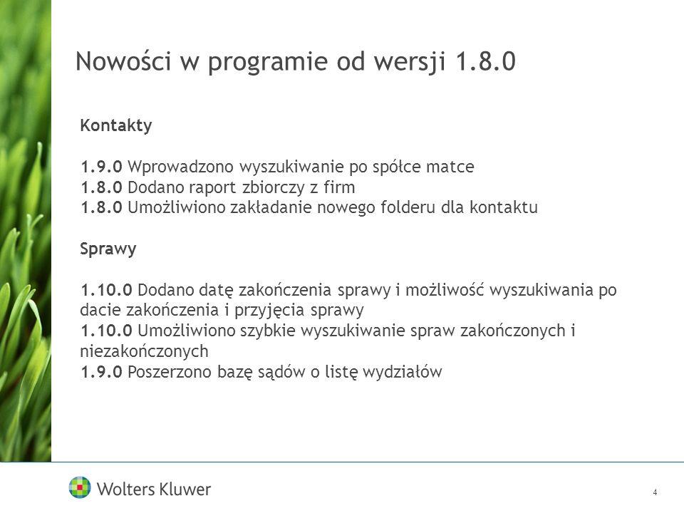 Nowości w programie od wersji 1.8.0