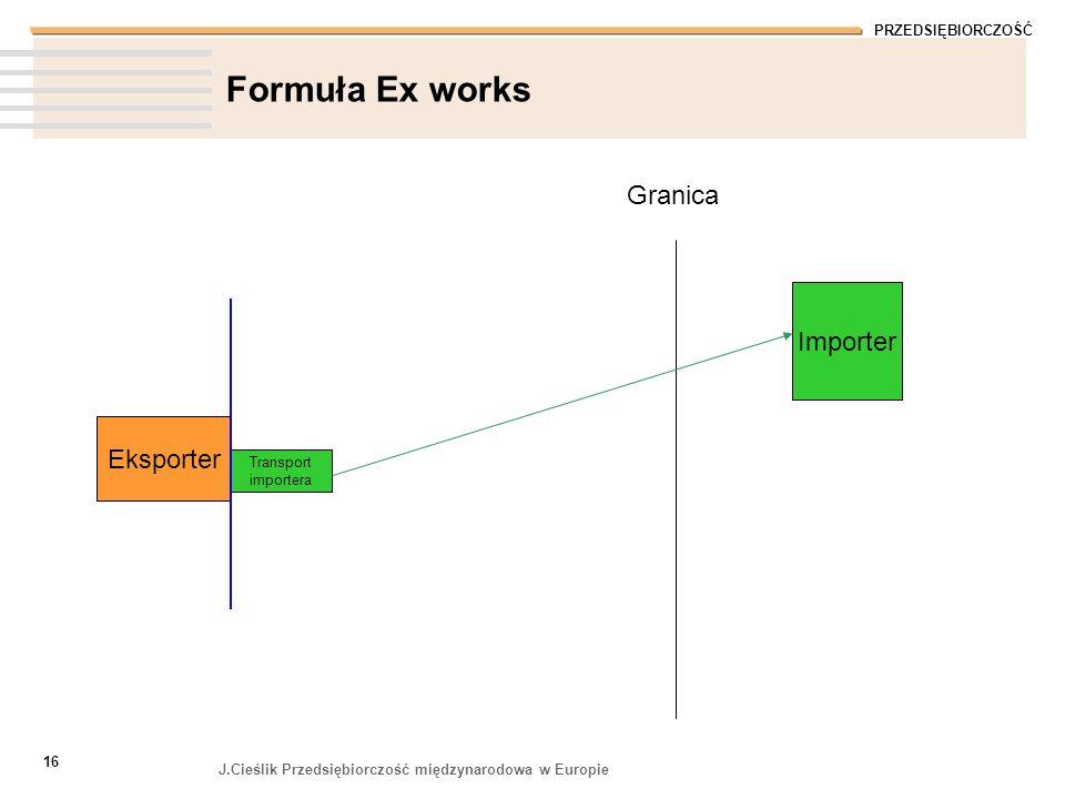 Formuła Ex works Granica Importer Eksporter Transport importera