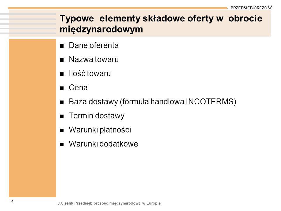 Typowe elementy składowe oferty w obrocie międzynarodowym