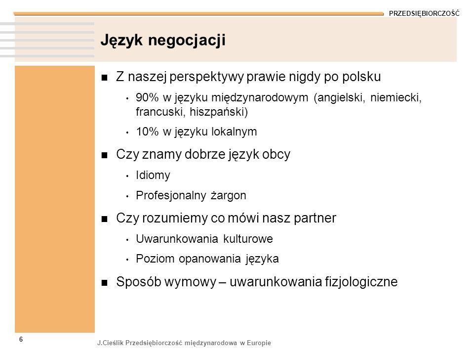 Język negocjacji Z naszej perspektywy prawie nigdy po polsku