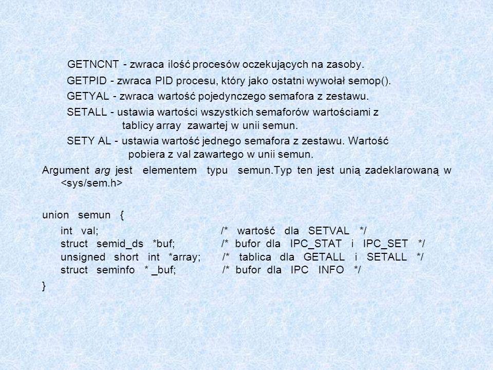 GETNCNT - zwraca ilość procesów oczekujących na zasoby.