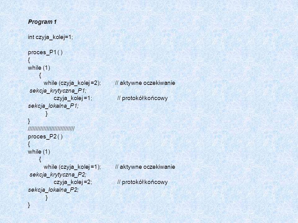Program 1 int czyja_kolej=1; proces_P1 ( ) { while (1) while (czyja_kolej =2); // aktywne oczekiwanie.