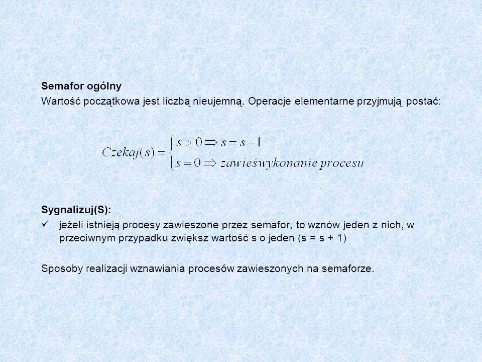 Semafor ogólny Wartość początkowa jest liczbą nieujemną. Operacje elementarne przyjmują postać: Sygnalizuj(S):