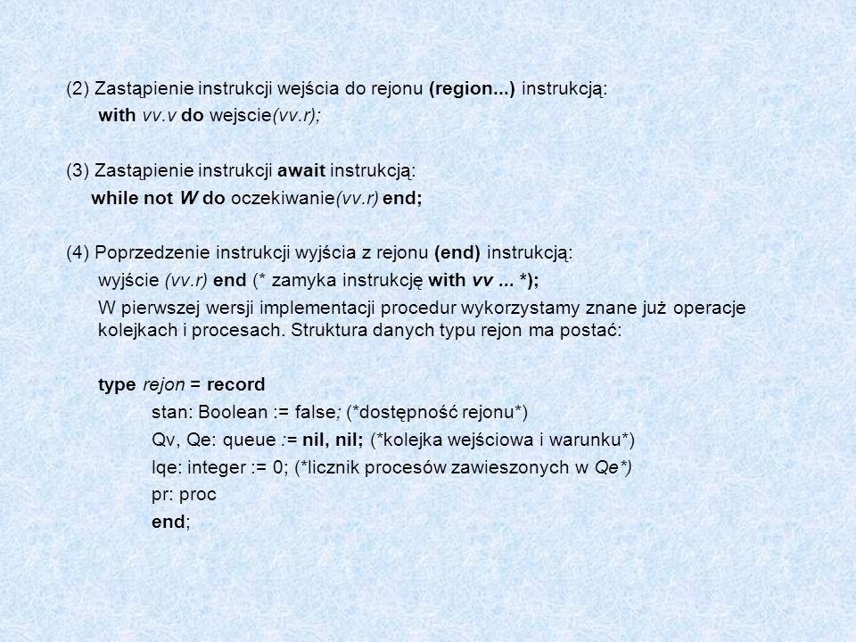 (2) Zastąpienie instrukcji wejścia do rejonu (region...) instrukcją:
