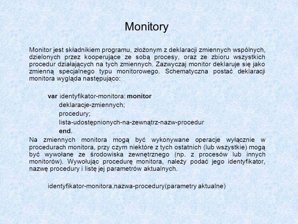 Monitory var identyfikator-monitora: monitor deklaracje-zmiennych;