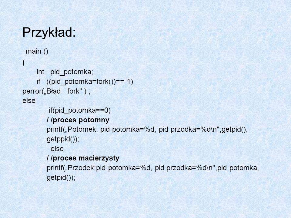 Przykład: main () { int pid_potomka; if ((pid_potomka=fork())==-1)