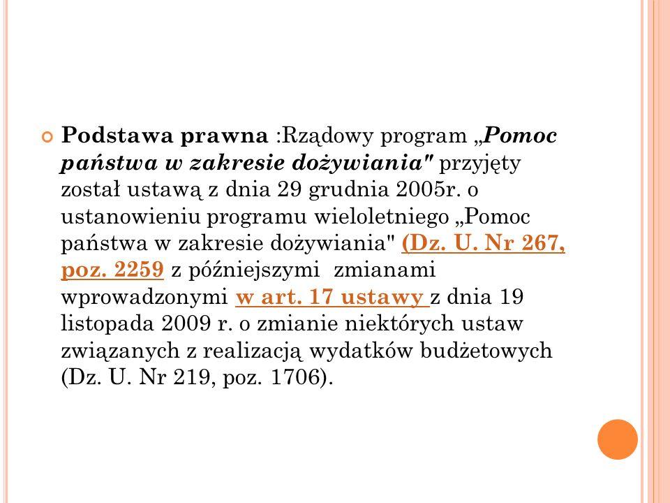 """Podstawa prawna :Rządowy program """"Pomoc państwa w zakresie dożywiania przyjęty został ustawą z dnia 29 grudnia 2005r."""