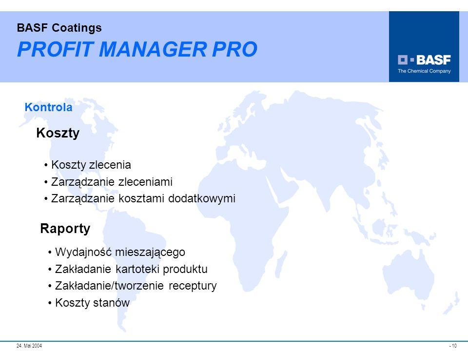 PROFIT MANAGER PRO Koszty Raporty Kontrola Koszty zlecenia