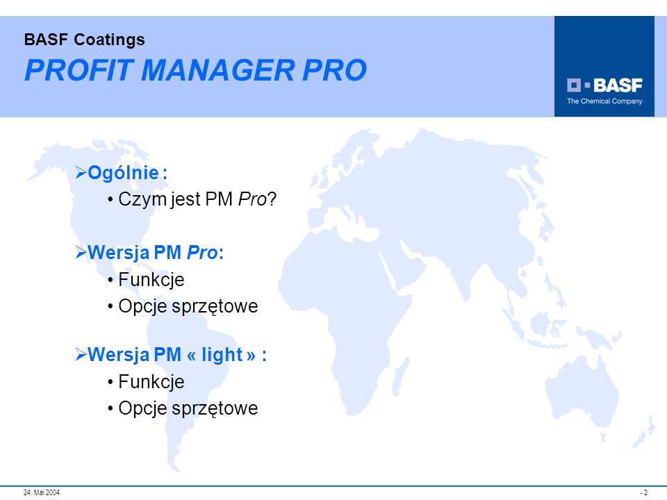 PROFIT MANAGER PRO Ogólnie : Czym jest PM Pro Wersja PM Pro: Funkcje