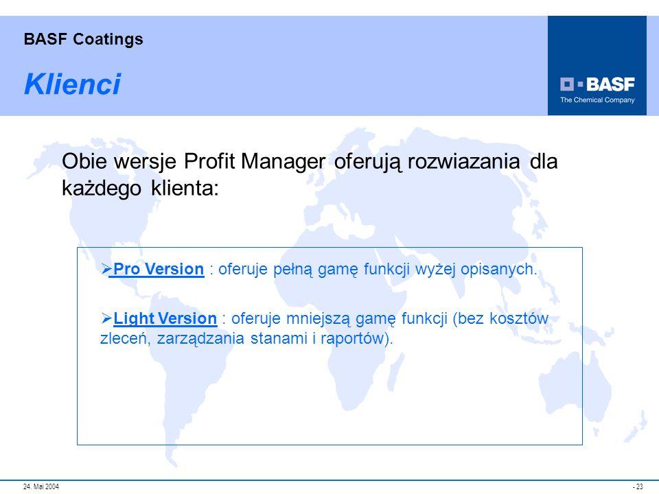 Klienci Obie wersje Profit Manager oferują rozwiazania dla każdego klienta: Pro Version : oferuje pełną gamę funkcji wyżej opisanych.