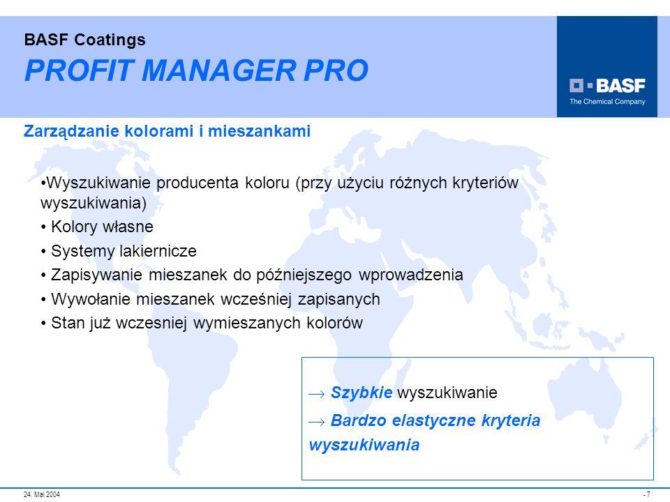 PROFIT MANAGER PRO Zarządzanie kolorami i mieszankami