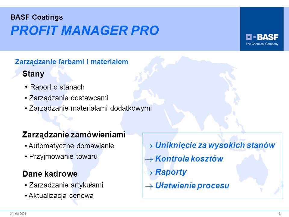 PROFIT MANAGER PRO Raport o stanach Stany Zarządzanie zamówieniami