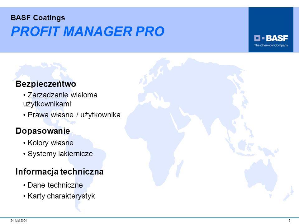 PROFIT MANAGER PRO Bezpieczeńtwo Dopasowanie Informacja techniczna