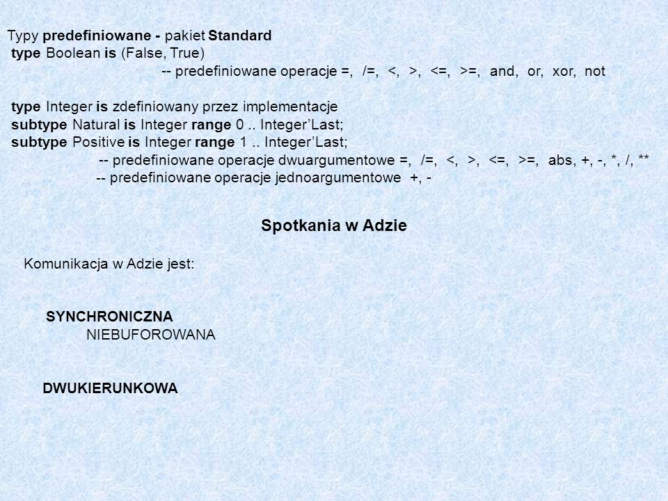 Spotkania w Adzie Typy predefiniowane - pakiet Standard