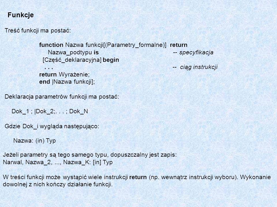 Funkcje Treść funkcji ma postać: