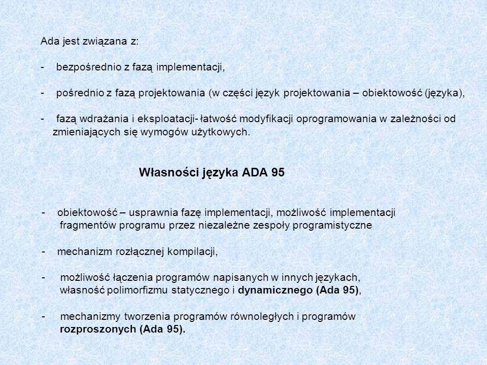 Własności języka ADA 95 Ada jest związana z:
