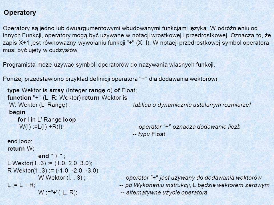 Operatory Operatory są jedno lub dwuargumentowymi wbudowanymi funkcjami języka .W odróżnieniu od.