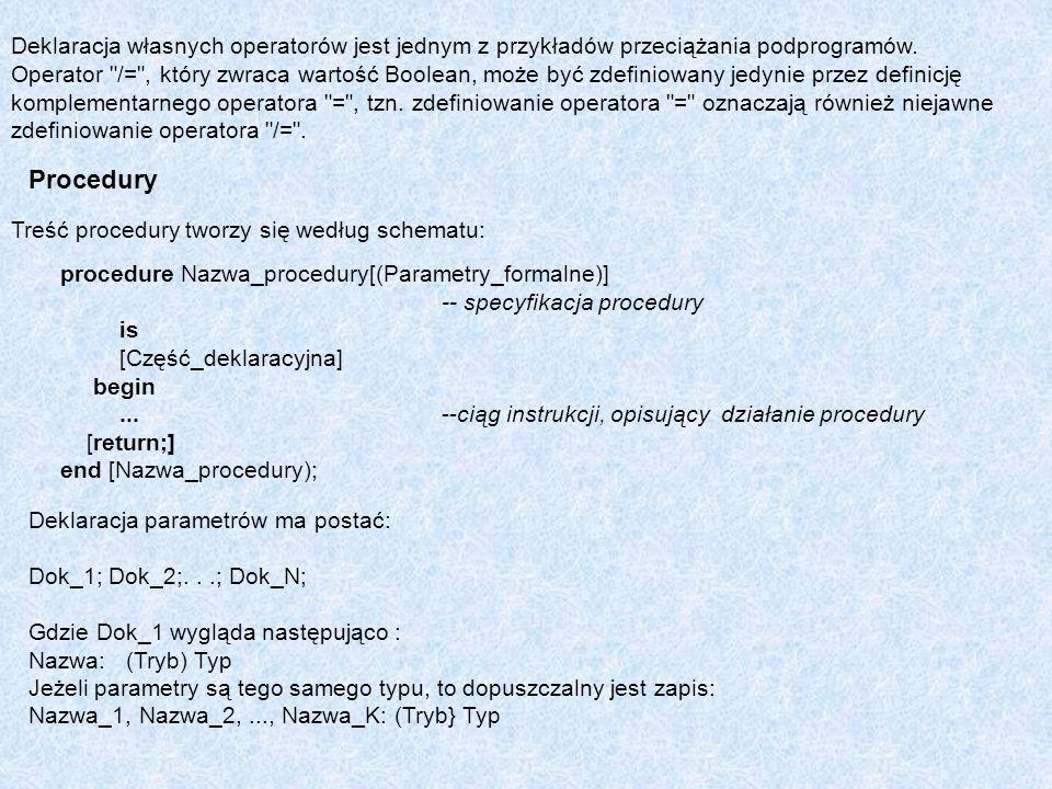 Treść procedury tworzy się według schematu: