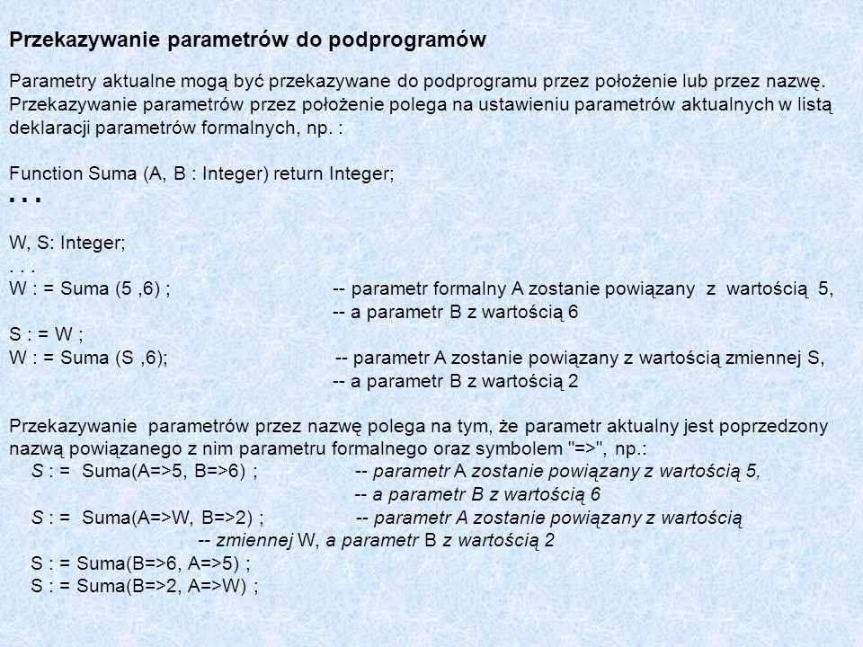 Przekazywanie parametrów do podprogramów