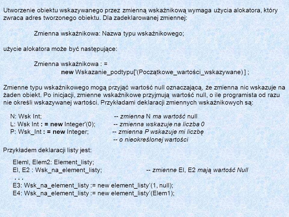 Przykładem deklaracji listy jest: