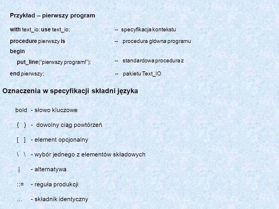 Oznaczenia w specyfikacji składni języka