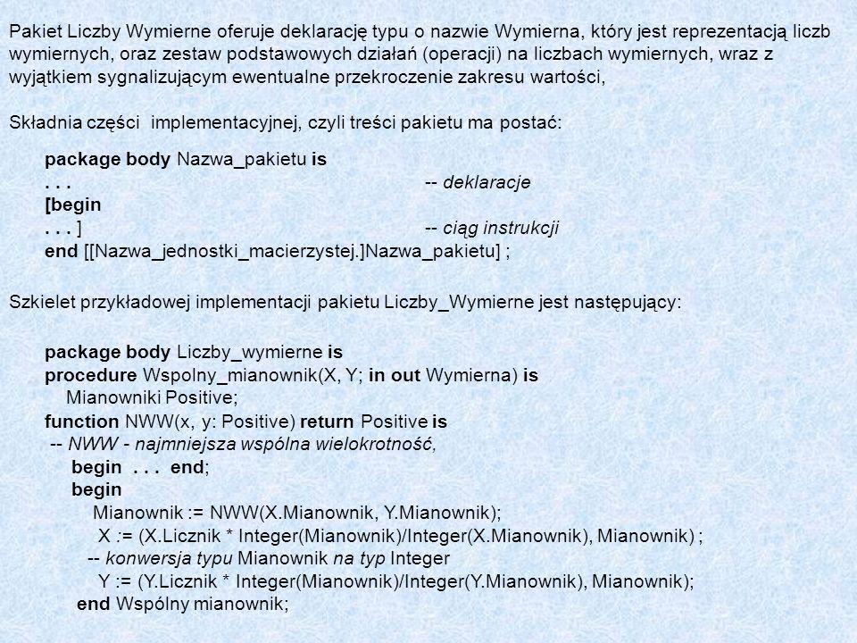 Pakiet Liczby Wymierne oferuje deklarację typu o nazwie Wymierna, który jest reprezentacją liczb