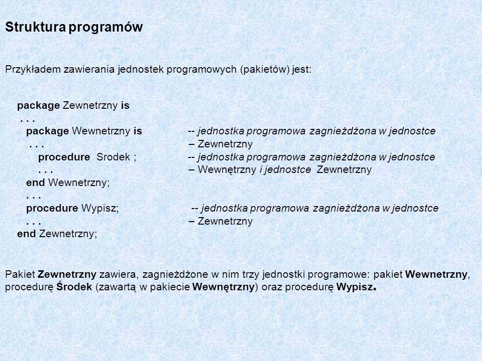 Przykładem zawierania jednostek programowych (pakietów) jest: