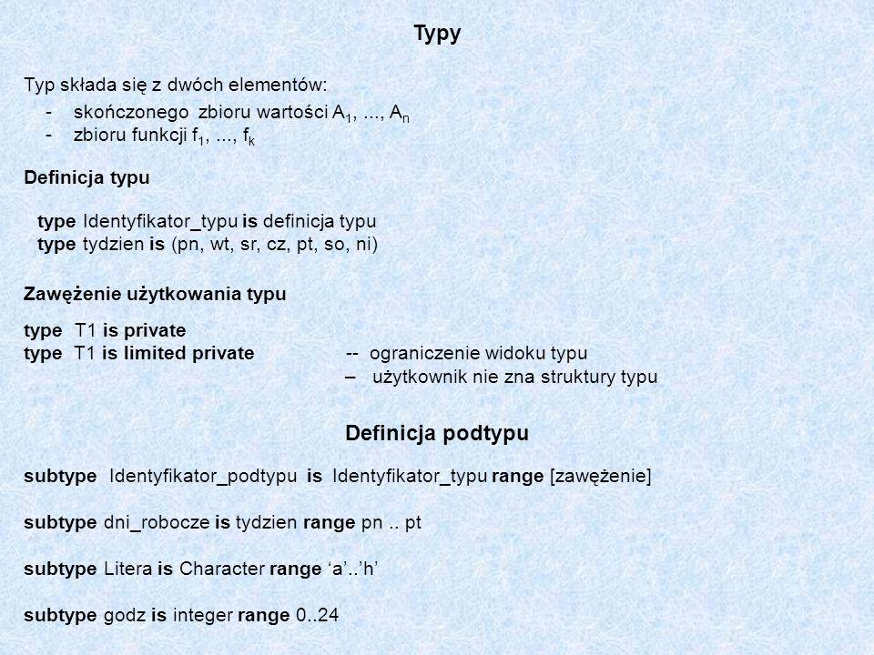 Typy Definicja podtypu Typ składa się z dwóch elementów: