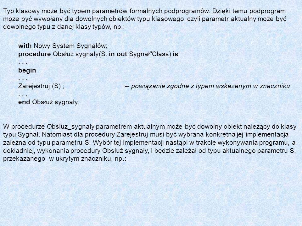 Typ klasowy może być typem parametrów formalnych podprogramów