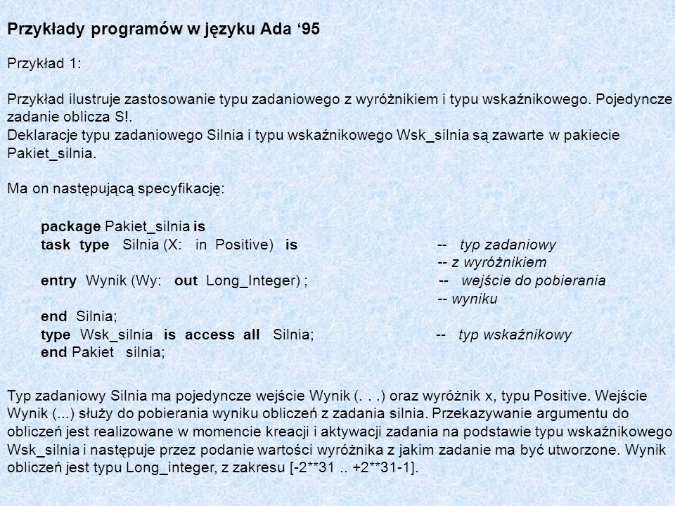 Przykłady programów w języku Ada '95