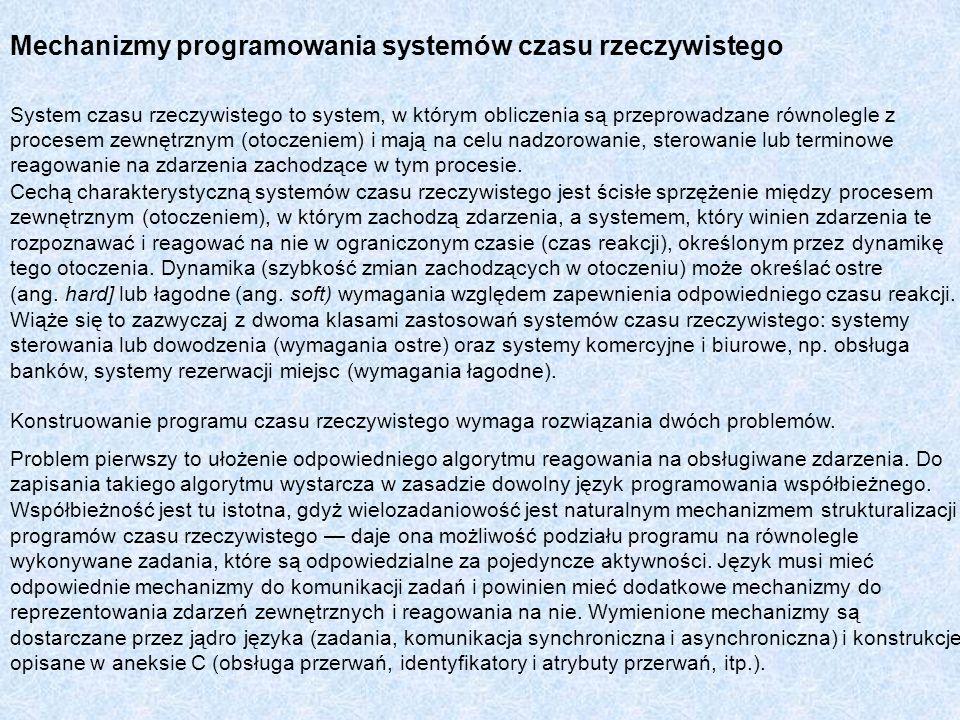 Mechanizmy programowania systemów czasu rzeczywistego