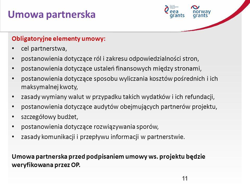 Umowa partnerska Obligatoryjne elementy umowy: cel partnerstwa,