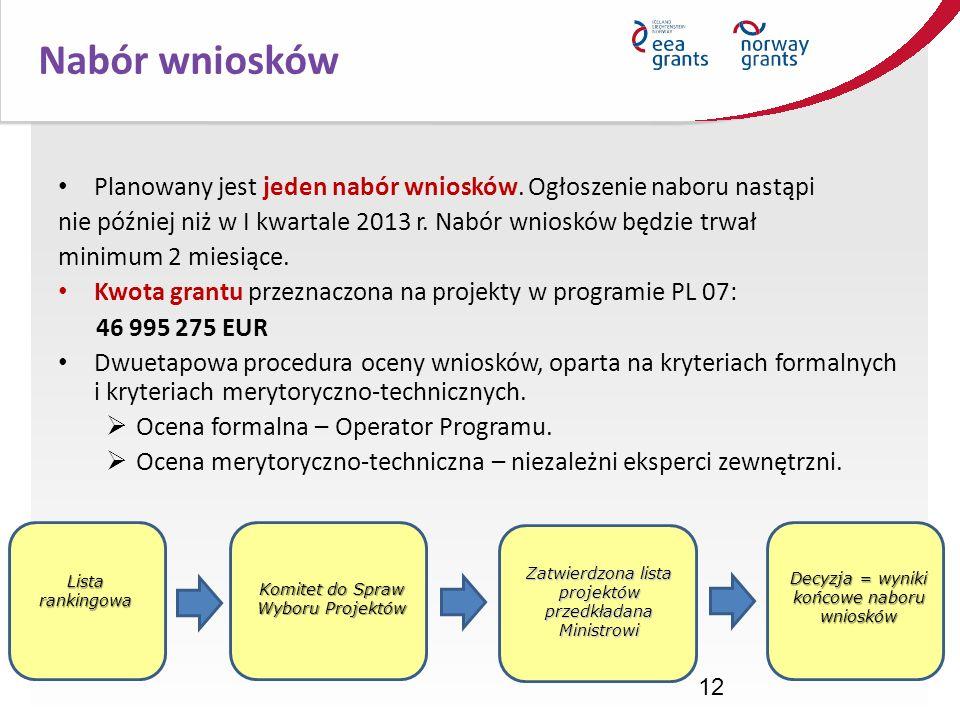 Nabór wniosków Planowany jest jeden nabór wniosków. Ogłoszenie naboru nastąpi. nie później niż w I kwartale 2013 r. Nabór wniosków będzie trwał.