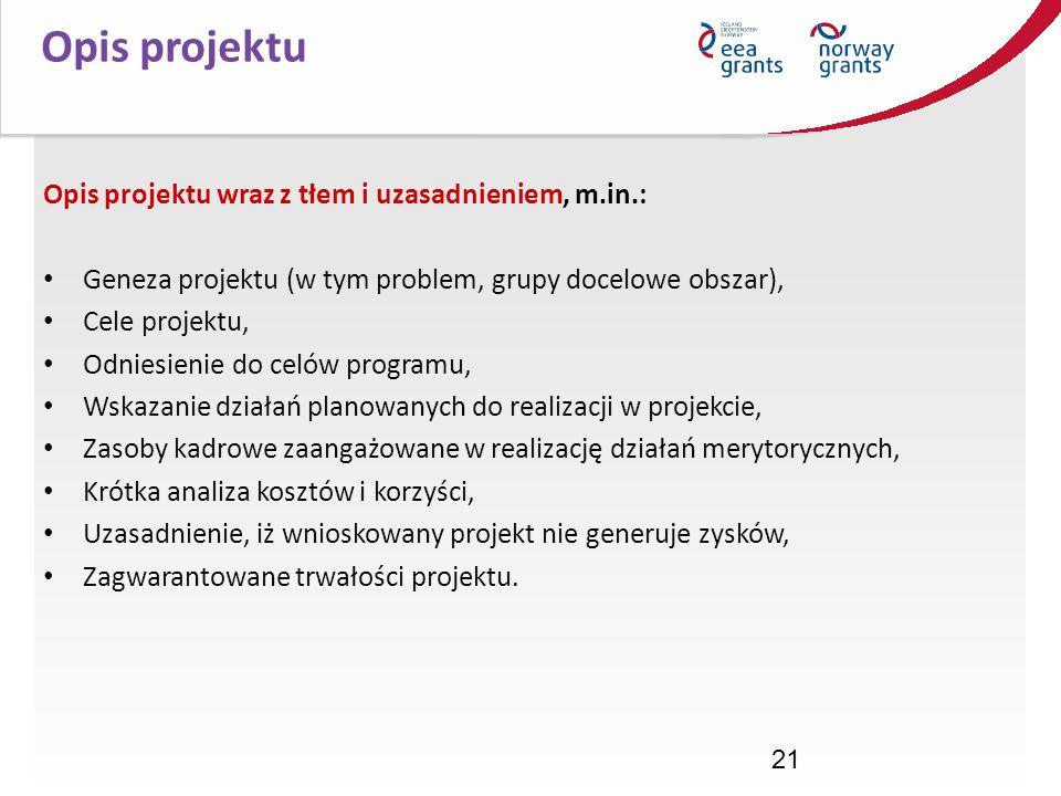 Opis projektu Opis projektu wraz z tłem i uzasadnieniem, m.in.: