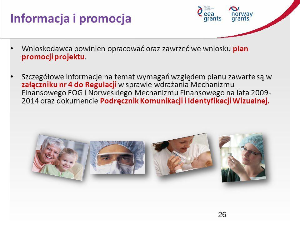 Informacja i promocjaWnioskodawca powinien opracować oraz zawrzeć we wniosku plan promocji projektu.
